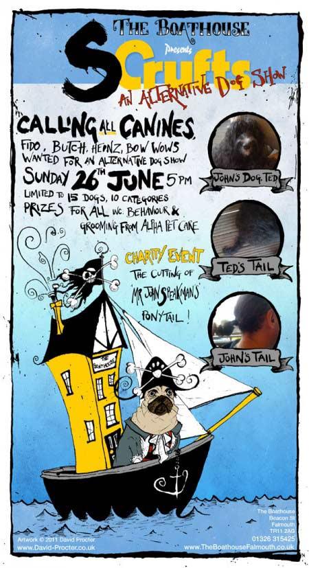 scrufts-dog-show-poster-pets-pug-pirate-david-procter-illustrator-cartoon-hai